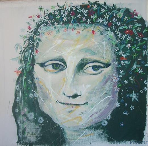 2015 Mona Lisa with flowers in her hair, oil and acrylic on linen 6'x6'