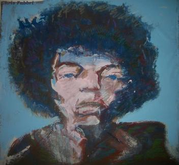 "2015 Jimi Hendrix, oil and acrylic on linen 42""x42"""