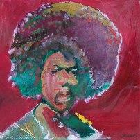 "2013 Jimi Hendrix, acrylic on cardboard 12""x12"""