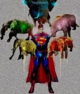 superman carrying 5 elephants