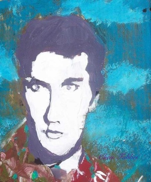 2013 Elvis, acrylic on cardboard 13″x12″