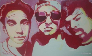 "2015 Beastie Boys, ink and acrylic on slate 12""x20"""