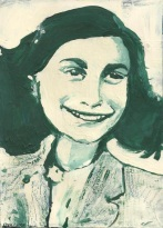 """2015 Anne Frank, acrylic on cardboard 11""""x8"""""""