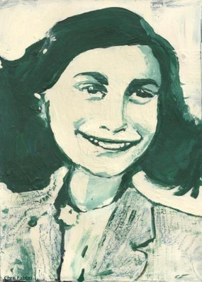 "2015 Anne Frank, acrylic on cardboard 11""x8"""