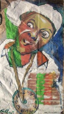 """2015 Flava Flav, oil, acrylic and ink on paper 20""""x11"""""""