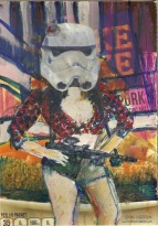 """2015 Daisydukes Stormtrooper, oil, acrylic and paper collage on cardboard 7""""x5"""""""