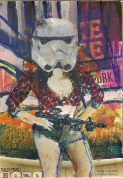 "2015 Daisydukes Stormtrooper, oil, acrylic and paper collage on cardboard 7""x5"""