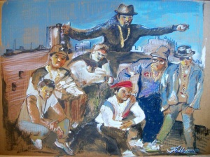 2015 Beastie Boys and Run-DMC, oil and acrylic on cardboard 24″x32″