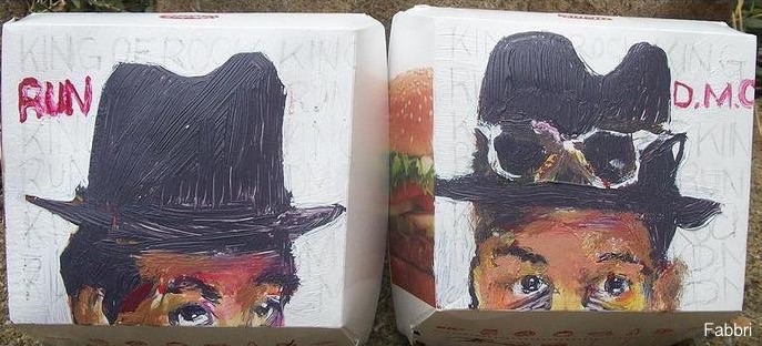 2013 RUNDMC, acrylic on cardboard boxes 6″X11″