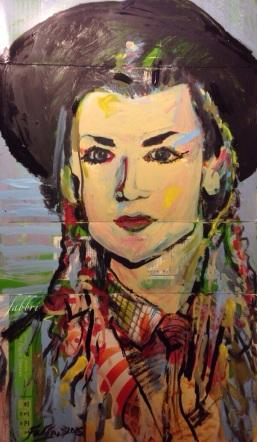 """2015 Boy George, acrylic on cardboard 20""""X11"""""""