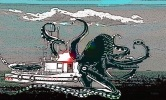 squid eating boat