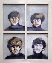 """2014 Beatles, acrylic and pencil on cardboard and wooden frame 23""""x19"""""""