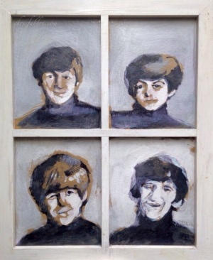 "2014 Beatles, acrylic and pencil on cardboard and wooden frame 23""x19"""