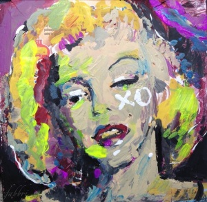 """2015 Monroe xo, acrylic on cardboard 10""""x10"""""""