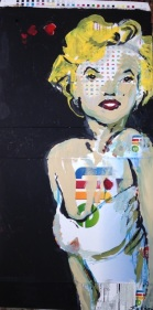 "2015 Marilyn life, acrylic on cardboard 19""x10"""