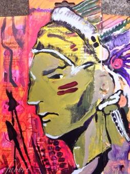 "2015 North American Indian, acrylic on cardboard 10""x7"""