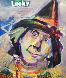 "2015 Scarecrow, acrylic on cardboard 11"" x 9 1/2"""