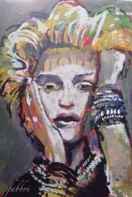 """2015 Madonna, acrylic on cardboard 11""""x7 1/2"""""""