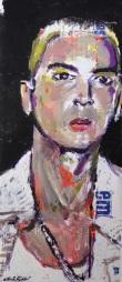 "2015 Eminem, acrylic on cardboard 13""x5 1/2"""