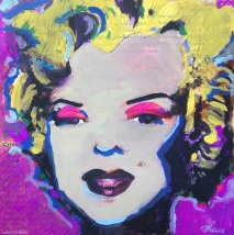 "2016 Marilyn pink eyes, acrylic on cardboard 12""x12"""