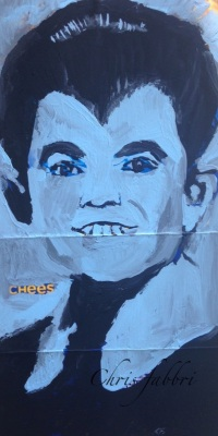 "2015 Eddie Munster, acrylic on cardboard 14""X7"""