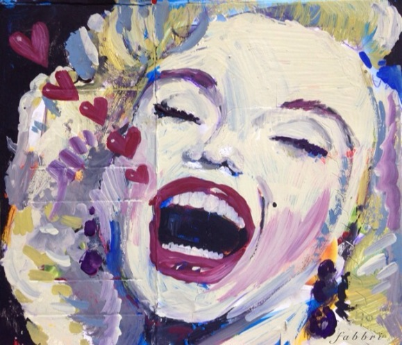 "2015 Marilyn, acrylic on cardboard 8""x9"""