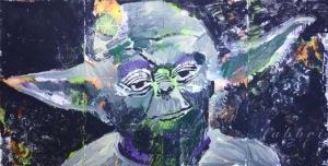 """2015 Yoda, acrylic on cardboard 10""""x20"""""""