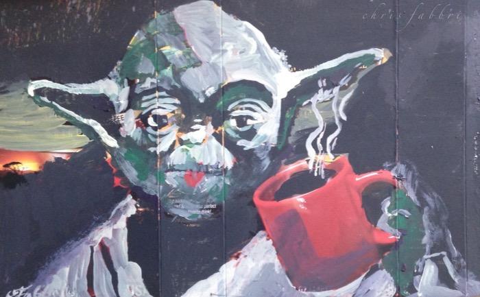 "2015 Yoda drinking coffee, acrylic on cardboard 6""x9"""