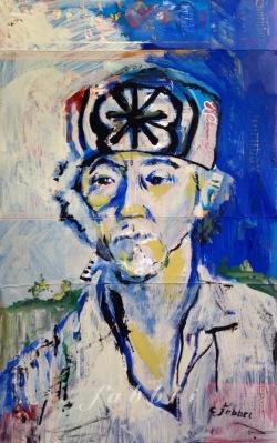 "2015 Pat Morita as Mr. Miyagi, acrylic on cardboard 22""x13"""