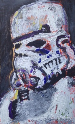 "2015 Storm Trooper Shaving, oil and acrylic on cardboard 7""x4 1/2"""