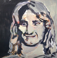 "2015 Sean Penn as Jeff Spicoli, acrylic on cardboard 11 1/2""x11 1/2"""