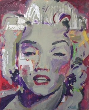 "2015 Monroe, acrylic on cardboard 7""x5"""