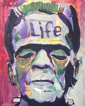 "2015 Frankenstein, He's Alive!, acrylic on cardboard 7""x5"""