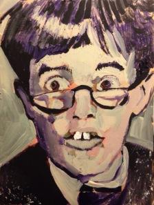 "2015 Jerry Lewis, acrylic on cardboard 7 1/2"" x 5 1/2"""