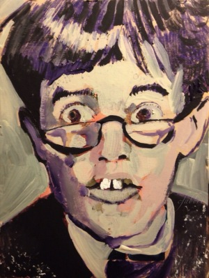 "2015 Jerry Lewis, acrylic on cardboard 7 1/2"" x 5 1/2"""