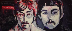 "2015 John and Paul, acrylic on cardboard 7""x16"""