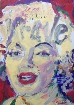"2015 Monroe Rave, acrylic on cardboard 11""x7 1/2"""