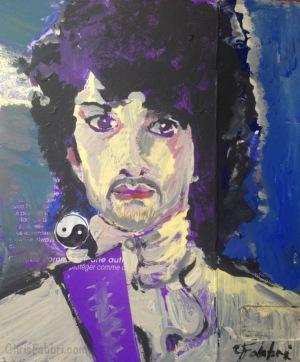 "2015 Prince, acrylic on cardboard 8""x7"""