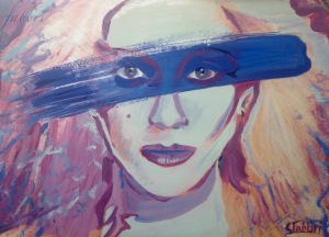 "2015 Dale Bozzio, What's Blue Paint for?, acrylic on cardboard 9""x12"""