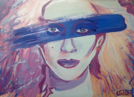 """2015 Dale Bozzio, What's Blue Paint for?, acrylic on cardboard 9""""x12"""""""