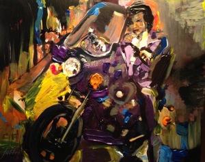 "2016 Prince, acrylic on cardboard 6""x7"""