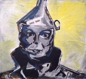 """2016 Tinman, acrylic on cardboard 12""""x14"""""""