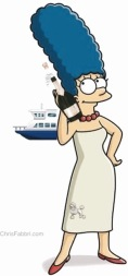 Marge poppin bottles on a boat