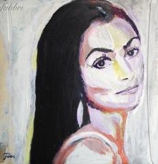 """2016 Cher, acrylic on cardboard 12""""x12"""""""