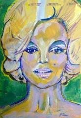 "2016 Marilyn, acrylic on cardboard 11 1/2""x8"""