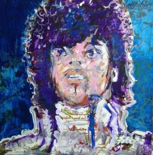 "2016 Prince, acrylic on cardboard 12""x12"""