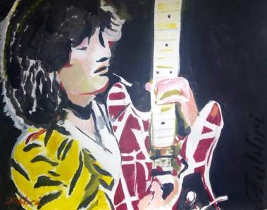 "2016 Eddie Van Halen, acrylic on paper 18""x24"""