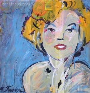 "2016 Marilyn, acrylic on cardboard 15""x15"""