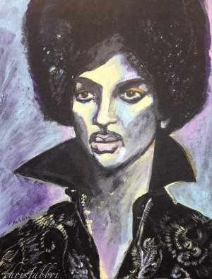 "2016 Prince, acrylic on wood 20""x16"""