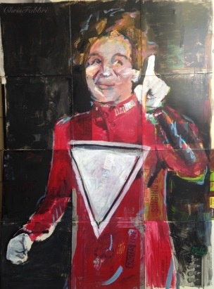 "2016 Robin Williams as Mork, acrylic on cardboard 50""x37"""